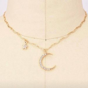 💫Star and Moon Gold Choker Necklace!✨